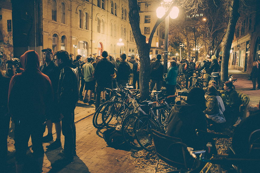 Albert Street as it should be – shut down for a bike party.