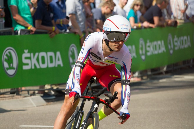 Team Katusha sports the new Giro TT helmet. Photo: San Cavallari, Velo News